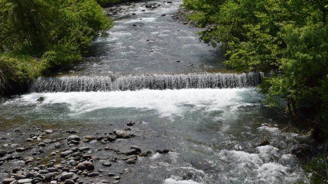 早春の渓流の様子